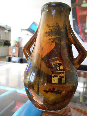 "Antique Arts & Crafts 5"" Cabinet Pottery Vase Hand Painted Signed & Numbered Exc"