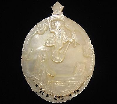 Antique Bethlehem Carved Mother of Pearl Shell Religious Icon Large
