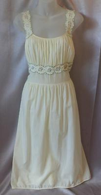 ROMANTIC EMBROIDERED Vintage 1940s FINE COTTON SLIP NEGLIGEE NIGHTGOWN 36