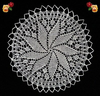 Vintage Hand Knitted Doily Round Scallop Cream Fine Old Handmade Lace Pristine