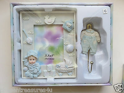 Baby Boy Gift Box Photo Frame 3.5X5 In. Resin And Hanger 2 Pce. New Sabre