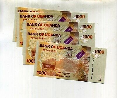 Uganda 1000 Shillings 2010 5 Consecutively Numbered Currency Note Lot Ch Cu