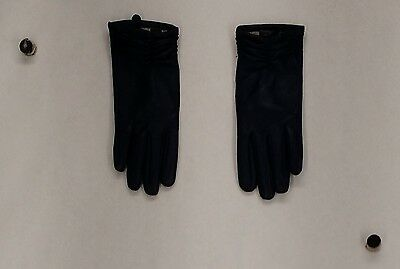Excelled Gloves S Lamb Leather Cashmere Lined Driving Gloves Navy Blue