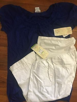 Women's 2-piece maternity lot capri pants-- medium summer outfit by OH Baby NWT