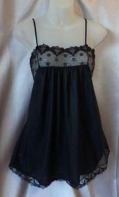 PIN-UP LACY BLACK DOUBLE NYLON Vintage MINI BABYDOLL NEGLIGEE NIGHTGOWN - SM