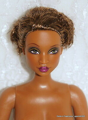 AA African Madam LaVinia Barbie Doll Curvy Body Style Gold Label NUDE w/ Stand