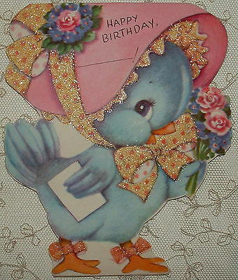 Glittered - Dbl. Sided - Little Blue Bird w/ Bonnet -40's Vintage Greeting Card