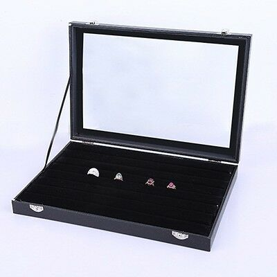 1X New Black Velvet Ring Display Case with Glass Lid