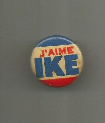 1952/1956 Dwight Eisenhower President J'aime Ike French Republican Button Pin