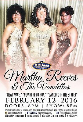 MARTHA REEVES & THE VANDELLAS 2016 NEW YORK CONCERT TOUR POSTER - R&B, Soul, Pop