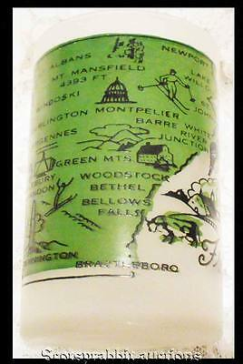 Vintage Frosted Glass VERMONT GREEN MOUNTAIN STATE Hazel Atlas COOL Design