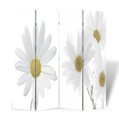 Large Folding 4 Panels Room Divider Screen Solid Wood Print Flower Privacy 160cm