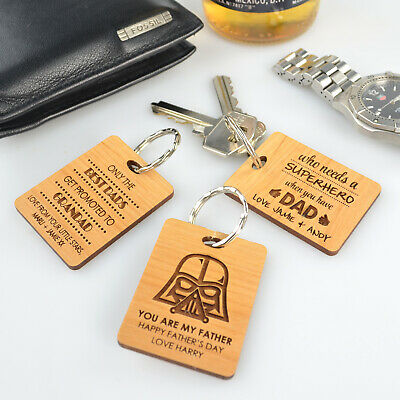 Personalised Engraved Wooden Father's Day Keyring Gift - Ideal Present for Dad!