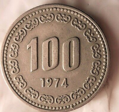 1974 SOUTH KOREA 100 WON - High Quality Coin - Key Date - Korea Bin #B