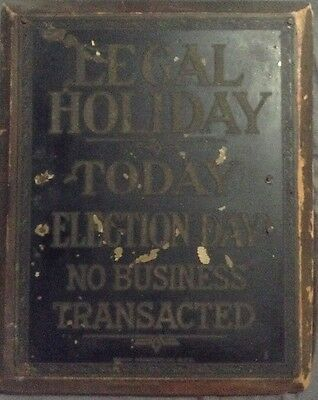 Antique Brass Bankers Sign Legal Holiday Election Day Circa 1900 Bank Products