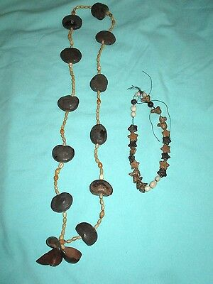 vintage Hawaiian kukui nut and seeds necklace and extra beads & stone charms
