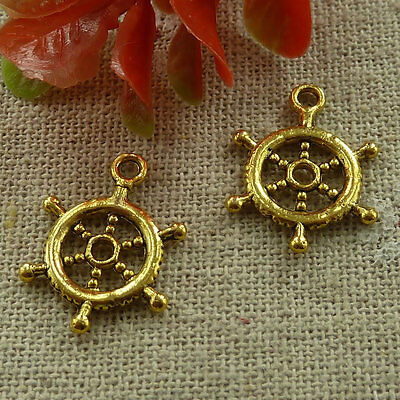 free ship 180 pieces gold plated steering wheel charms 20x15mm #2973