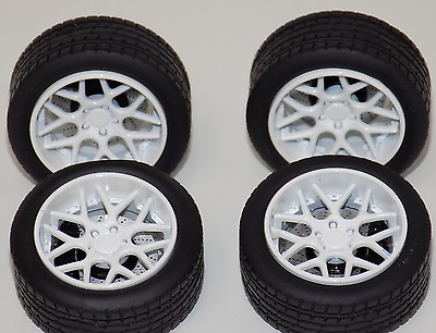 1/18 Sky Forged Wheels and Tires Set White Porsche Ferrari Lamborghini MR