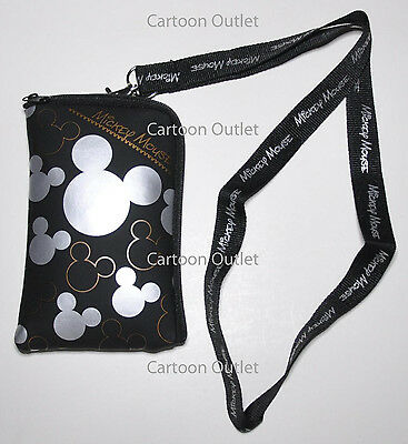 MICKEY MOUSE LANYARD CASE POUCH PINS HOLDER/Wallet coin BAG purse DISNEY SILVER