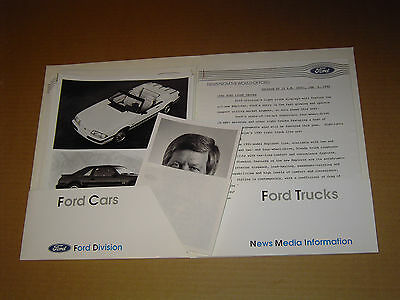 1990 Ford Press Kit Mustang Gt Probe Thunderbird Factory Photos Orig. Folder