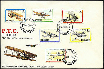 Rhodesia 1978, 75th Anniv Of Powered Flight FDC First Day Cover #C42129
