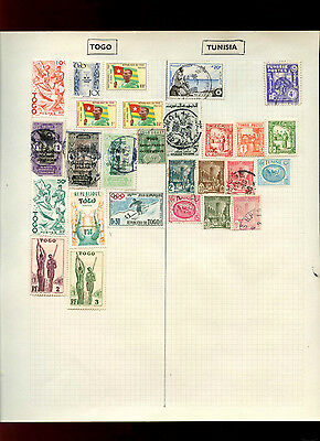 Togo/Tunisia Album Page Of Stamps #V5079