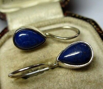 Vintage Edwardian Style Jewellery Solid Silver Real LAPIS Stone Drop EARRINGS