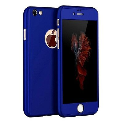 Hybrid 360° Ultra Thin Blue Case+Tempered Glass For iPhone 5/5s {BF69