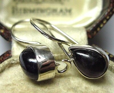 Vintage Edwardian Style Jewellery Solid Silver Real AMETHYST Stone Drop EARRINGS