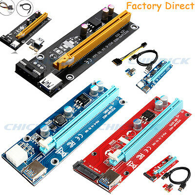 USB3.0 Pcie PCI-E Express 1x To 16x Extender Riser Card Adapter Power BTC Cable~