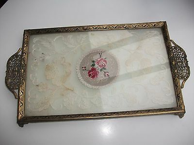 Vintage LACE & PETIT POINT VANITY DRESSING TABLE TRAY.