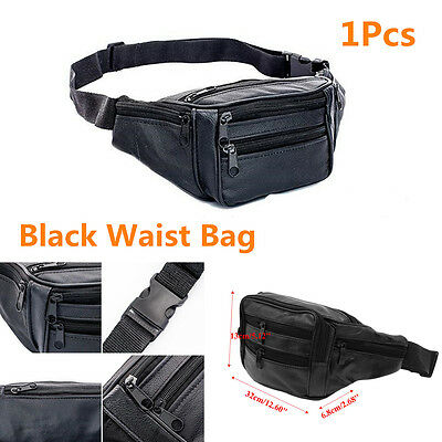 Black Portable Faux Leather Outdoor Hiking Motorcycles Men's Vintage Waist Pack