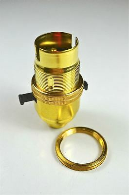 Switch Brass Bayonet Fitting Lamp Bulb Holder Lamp Holder C/w Shade Ring 10Mm L9