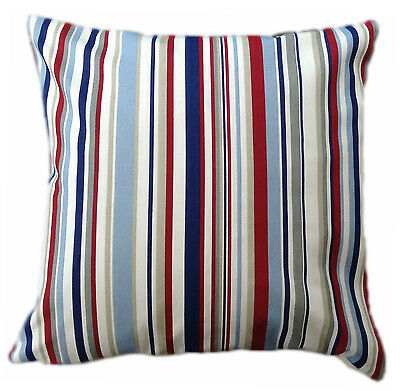"""1 16"""" CUSHION COVER made STRIPE NAUTICAL  red blue   with zip"""