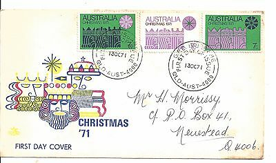 1971 Australia First day cover Christmas 3 x 7c stamps