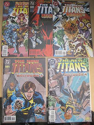 "NEW TEEN TITANS 126,127,128,129,130 : COMPLETE 5 ISSUE ""MELTDOWN"" story. DC 1996"