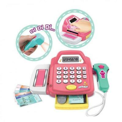 Shop Role Play Electronic Cash Register Toys with Scanner Sounds Green Pink