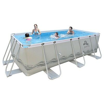 long Passaat Grey 400H+ Set - steel frame pool 400x207x122cm, rectangular pool w
