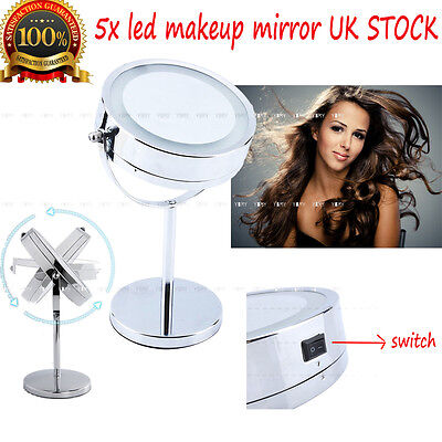 Desktop Double Sided Swivel Cosmetic Makeup Mirror Facial Beauty 5X Vanity