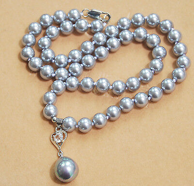"Long 16""-24"" 8mm Gray Shell Pearl Round Beads Drop Pendant(12x16MM) Necklace AAA"
