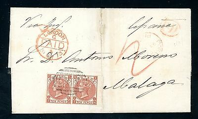 GB 1873 Cover from San Juan Porto Rico 'C61' 2 x 10d (SG 112) to Spain   (Jy160)