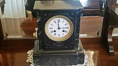 Antique French Mantle Clock Marble