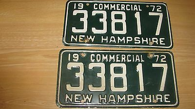 1972  New Hampshire License Plate  Pair Set 72 Nh Commercial Tag  33817 Reduced