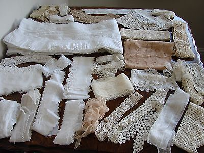 Mixed Lot antique,vintage lace trims,lengths,pieces,collars,crafts ,dolls,bears,