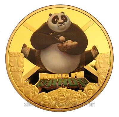 Chinese Kung Fu Panda Cartoon Movie Colored 24K Gold Plated Commemorative Coin