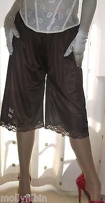 Brown silky soft nylon lace pantie slip~pettipants~culottes~bloomer 20~22 no vpl