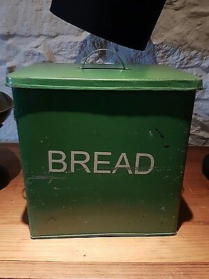 Twos Conpany Distressed Green Metal Bread bin
