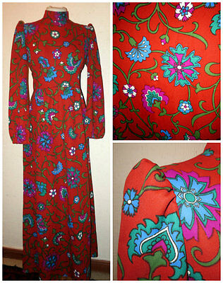 ~ Fab Bright Bold Vintage 1970S Bell Sleeve Maxi Dress Festival Garms Uk 12 ~