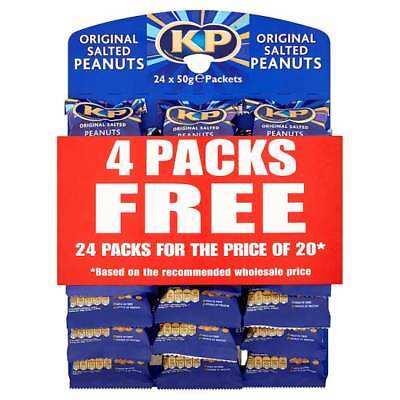 KP NUTS SALTED PEANUTS 24 X 50g PACKS ON PUB CARD SAVOURY SNACKS