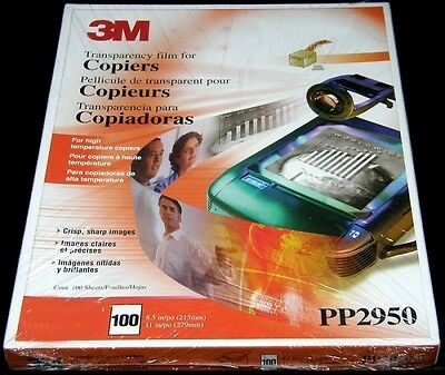 3M ~ PP2950 ~ Copier Transparency Film 8.5 x 11 ~ SEALED BOX OF 100 SHEETS